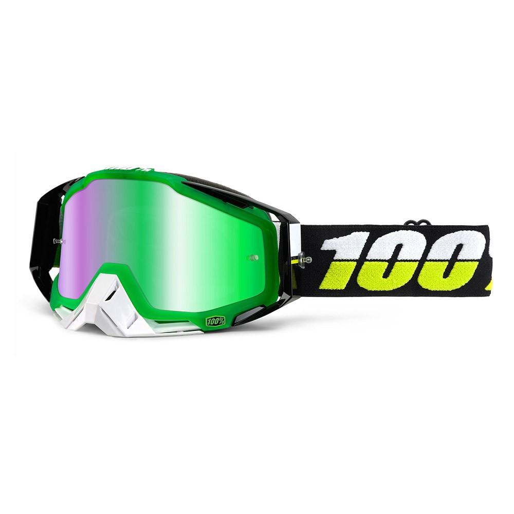 100% RACECRAFT SIMBAD Gafas Bicicleta Montaña MTB (LENTE ESPEJO VERDE)