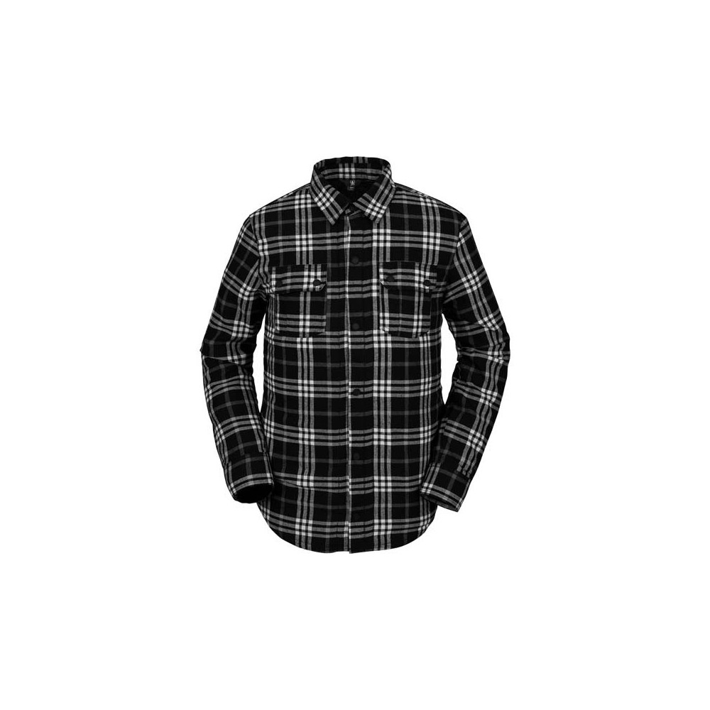 camisa hombre snowboard, volcom, sherpa flannel jacket, negro