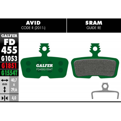 GALFER BIKE PRO BRAKE PAD AVID CODE R (11-) - FD455G1554T