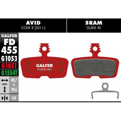 GALFER BIKE ADVANCED BRAKE PAD AVID CODE R (11-) - FD455G1851