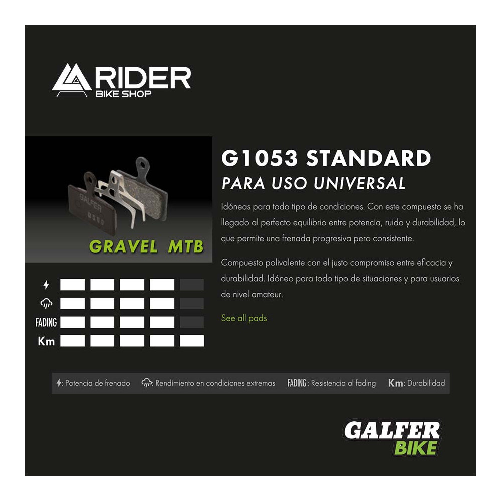 GALFER BIKE STANDARD BRAKE PAD AVID CODE R (11-) - FD455G1053