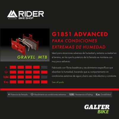 GALFER BIKE ADVANCED BRAKE PAD SRAM RED 22 - LEVEL - FD469G1851