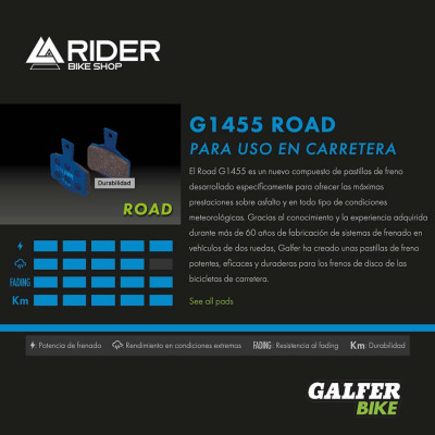 GALFER BIKE ROAD BRAKE PAD SHIMANO ULTEGRA DISC ROAD - FD496G1455