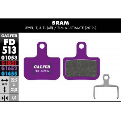 GALFER E-BIKE BRAKE PAD SRAM LEVEL, T, TL - FD513G1652