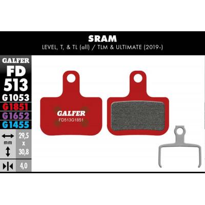GALFER BIKE ADVANCED BRAKE PAD SRAM LEVEL, T, TL - FD513G1851