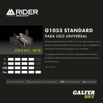 GALFER BIKE STANDARD BRAKE PAD SRAM LEVEL, T, TL - FD513G1053