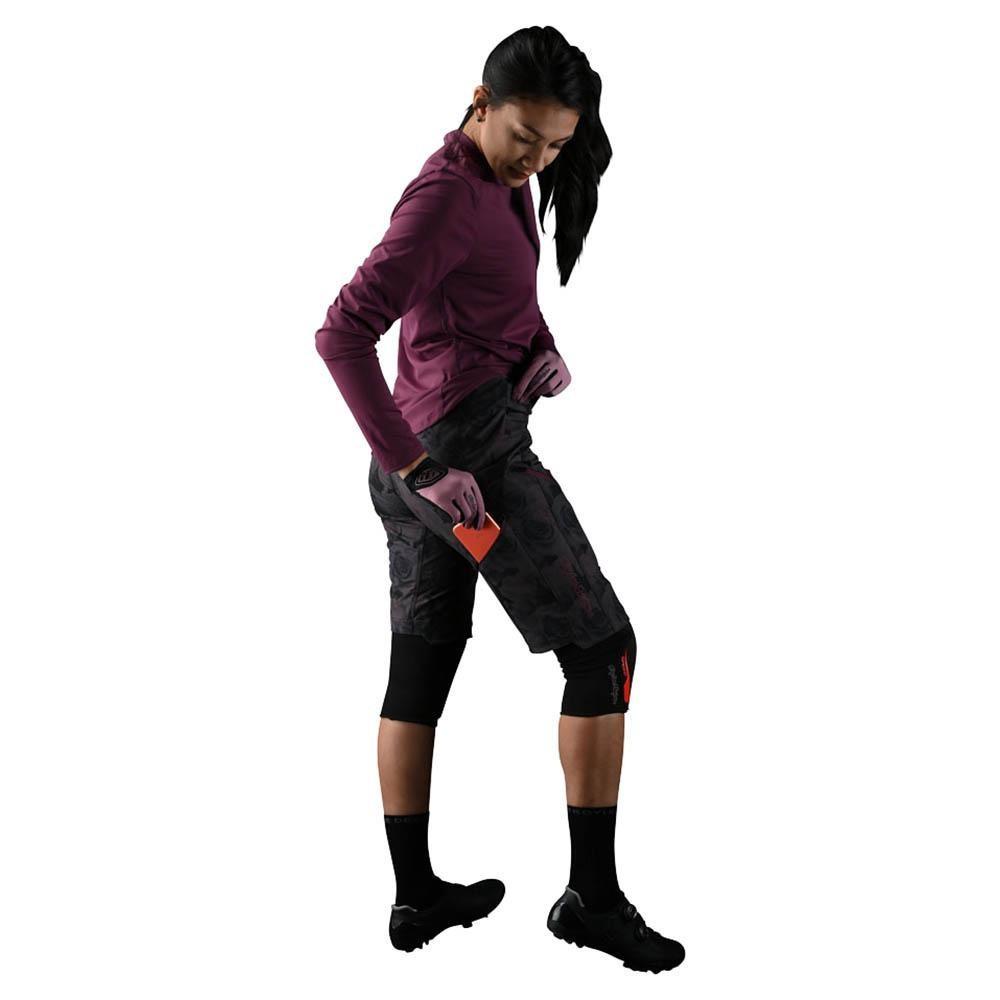 Troy Lee Womens Lilium Short Shell 2020 Floral Black Pantalon Bicicleta Mujer